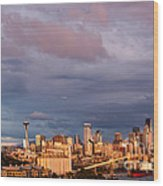 Golden Hour Reflected On Downtown Seattle And Space Needle - Seattle Washignton State Wood Print