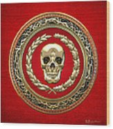 Golden Human Skull On Red   Wood Print