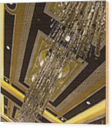 Golden Jewels And Gems - Sparkling Crystal Chandeliers  Wood Print