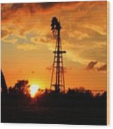 Golden Kansas Sunset With Windmill Wood Print