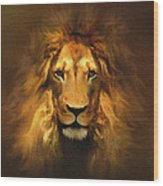 Golden King Lion Wood Print