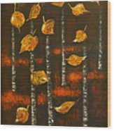 Golden Leaves 1 Wood Print by Elena  Constantinescu