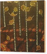 Golden Leaves 2 Wood Print