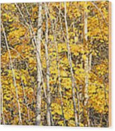 Golden Leaves In Autumn Abstract Wood Print
