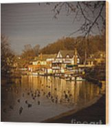 Golden Light At Boathouse Row Wood Print