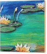 Golden Lillies Wood Print