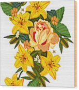Golden Lily Flowers With Golden Rose Wood Print