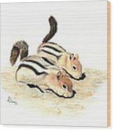 Golden-mantled Ground Squirrels Wood Print