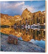 Golden Mountain Light Wood Print