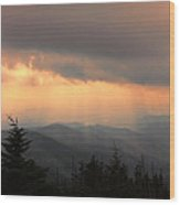 Golden Mountain Rays Wood Print