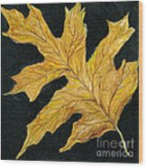 Golden Oak Leaf Wood Print