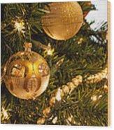 Golden Ornaments Wood Print
