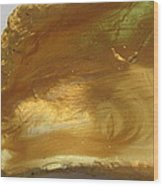Golden Oyster Shell With Green Reflection Wood Print