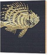 Golden Parrot Fish On Charcoal Black Wood Print