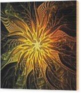 Golden Poinsettia Wood Print