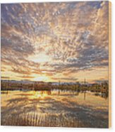 Golden Ponds Scenic Sunset Reflections 2 Wood Print