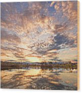 Golden Ponds Scenic Sunset Reflections 3 Wood Print