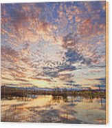 Golden Ponds Scenic Sunset Reflections 4 Wood Print