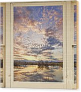 Golden Ponds Scenic Sunset Reflections 4 Yellow Window View Wood Print