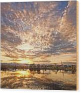 Golden Ponds Scenic Sunset Reflections 5 Wood Print