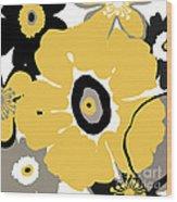 Golden Pop Flower Wood Print