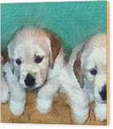 Golden Puppies Wood Print