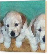 Golden Puppies Wood Print