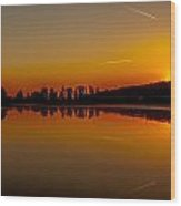 Golden Reflections On Sunset Wood Print