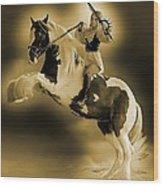 Golden Rider Wood Print