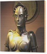 Golden Robot Lady Wood Print