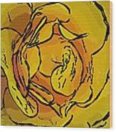 Golden Rose In Style Wood Print