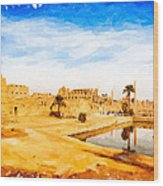 Golden Ruins Of Karnak Wood Print