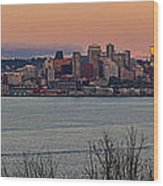 Golden Seattle Skyline Sunset Wood Print