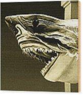 Golden Shark In Ocean City Wood Print