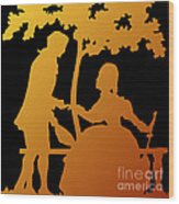 Golden Silhouette Garden Proposal Will You Marry Me Wood Print