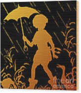 Golden Silhouette Of Child And Geese Walking In The Rain Wood Print