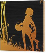 Golden Silhouette Of Child With Basket Walking In The Woods Wood Print