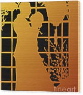 Golden Silhouette Of Couple Embracing Wood Print