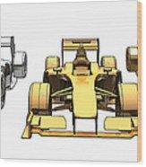 Golden Silver Bronze Race Car Color Sketch Wood Print