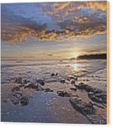 Golden Sky Lyme Regis Wood Print