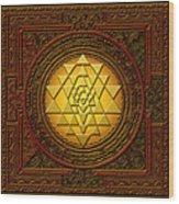 Golden  Sri Lakshmi Yantra Wood Print
