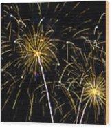Golden Starburst Wood Print