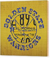 Golden State Warriors Basketball Team Retro Logo Vintage Recycled California License Plate Art Wood Print
