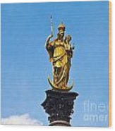 Golden Statue Of The Virgin Mary In Munich Germany Wood Print