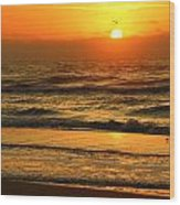 Golden Sun Up Reflection Wood Print