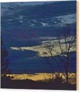 Golden Sunrise Into The Blue Wood Print