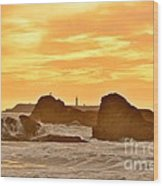 Golden Sunset At Ruby Beach Wood Print