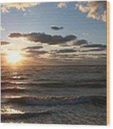 Golden Sunset  Clouds Wood Print