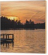 Golden Sunset Lake Horicon Lakehurst Nj Wood Print