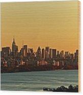 Golden Sunset On Nyc Skyline Wood Print